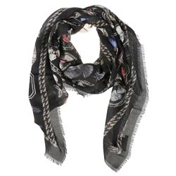 black silk skull printed scarf
