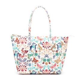 multicolored printed shopping bag