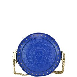 blue leather round crossbody