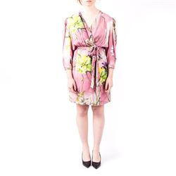 pink viscose printed dress