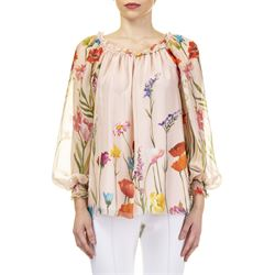 pink silk printed blouse