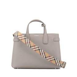 dove grey  grain leather banner  handbag