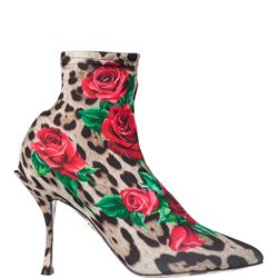 multicoloured leather leopard rose print boots