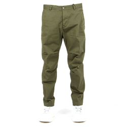 military green cropped trousers