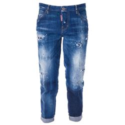used effect cropped jeans