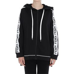 black hoodie with side logoed bands