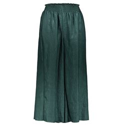 green  linen and satin trousers