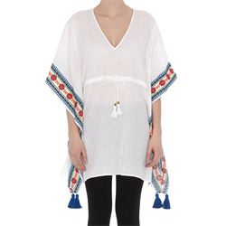 white linen embroidered beach caftan