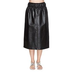 black silk and leather skirt