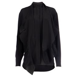 black silk shirt with pleated inserts