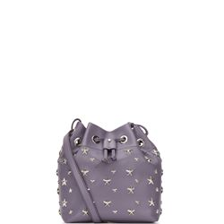 lilac leather juno small bucket bag with studded stars
