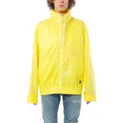 yellow hooded rain coat