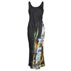 moving metallics print long dress