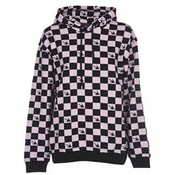 checked printed hoodie