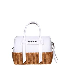 white leather logoed bag