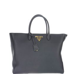 black leather logoed bag