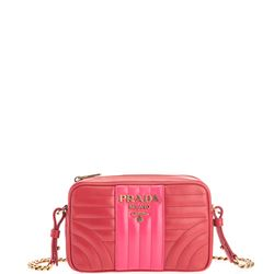 red and pink leather diagramme bag