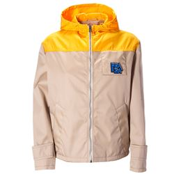 beige and orange hooded jacket