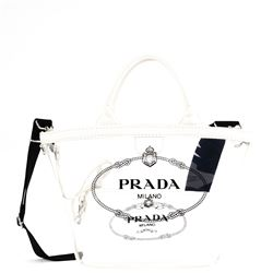 white canvas and plexiglass handbag