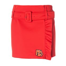 orange belted frilly mini skirt with logo
