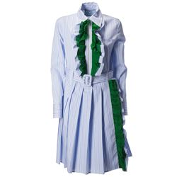 light blue and white striped dress with green rouches