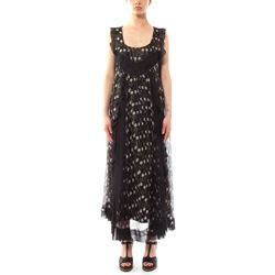 moon phases print black long dress