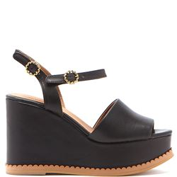 black leather wedges sandals
