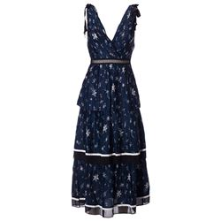 blue printed pleated dress