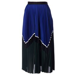 black and blue pleated skirt