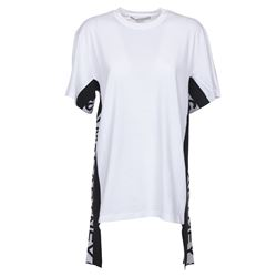 white t-shirt with side bands