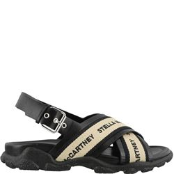black sandals with logo band