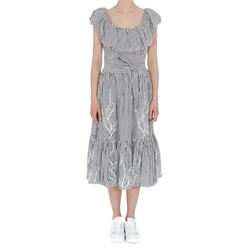 grey and white striped embroidered dress