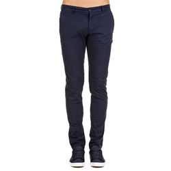 blue stretch cotton  trousers