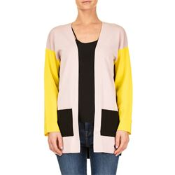 black and yellow color block cardigan