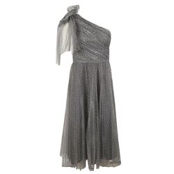 silver one shoulder dress