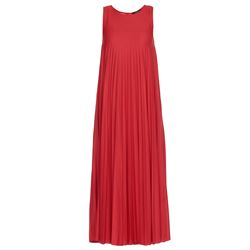 red flared pleated dress with slipdress