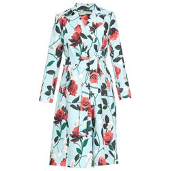 light blue floral patterned coat