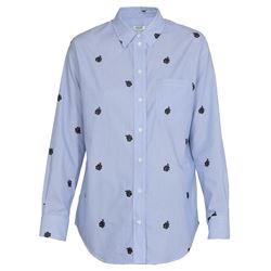 micro printed light blue shirt