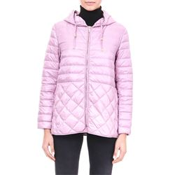 pink down filled coat