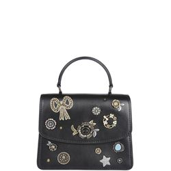 leather handbag with appliqué