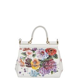 floral print leather handbag