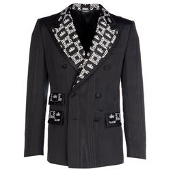 black blazer with printed lapels