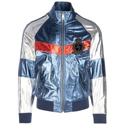 bomber jacket in color block laminated craquelé leather
