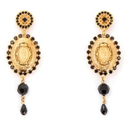 pendant earrings with votive medallions and crystals