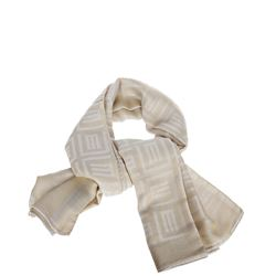 white silk printed scarf