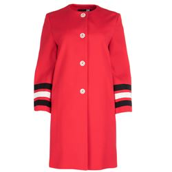 striped sleeves red coat