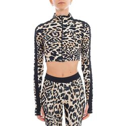 animalier zipped crop sweater