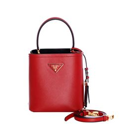 red saffiano leather hand bag