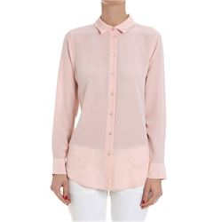 camicia in seta rosa essential