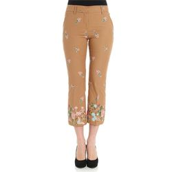 light brown cropped trousers
